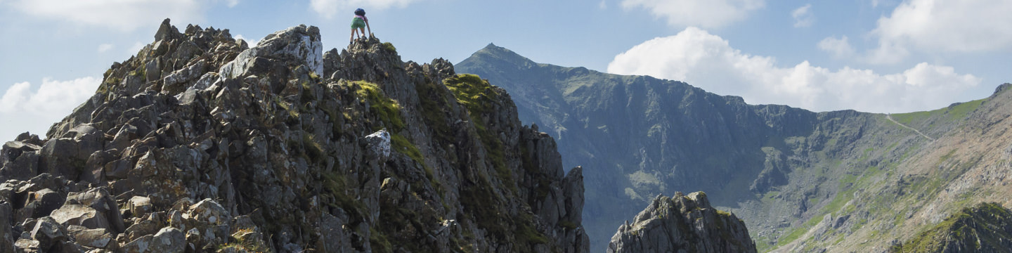 Hollie Scrambles over the knife-edge ridge of Crib Goch