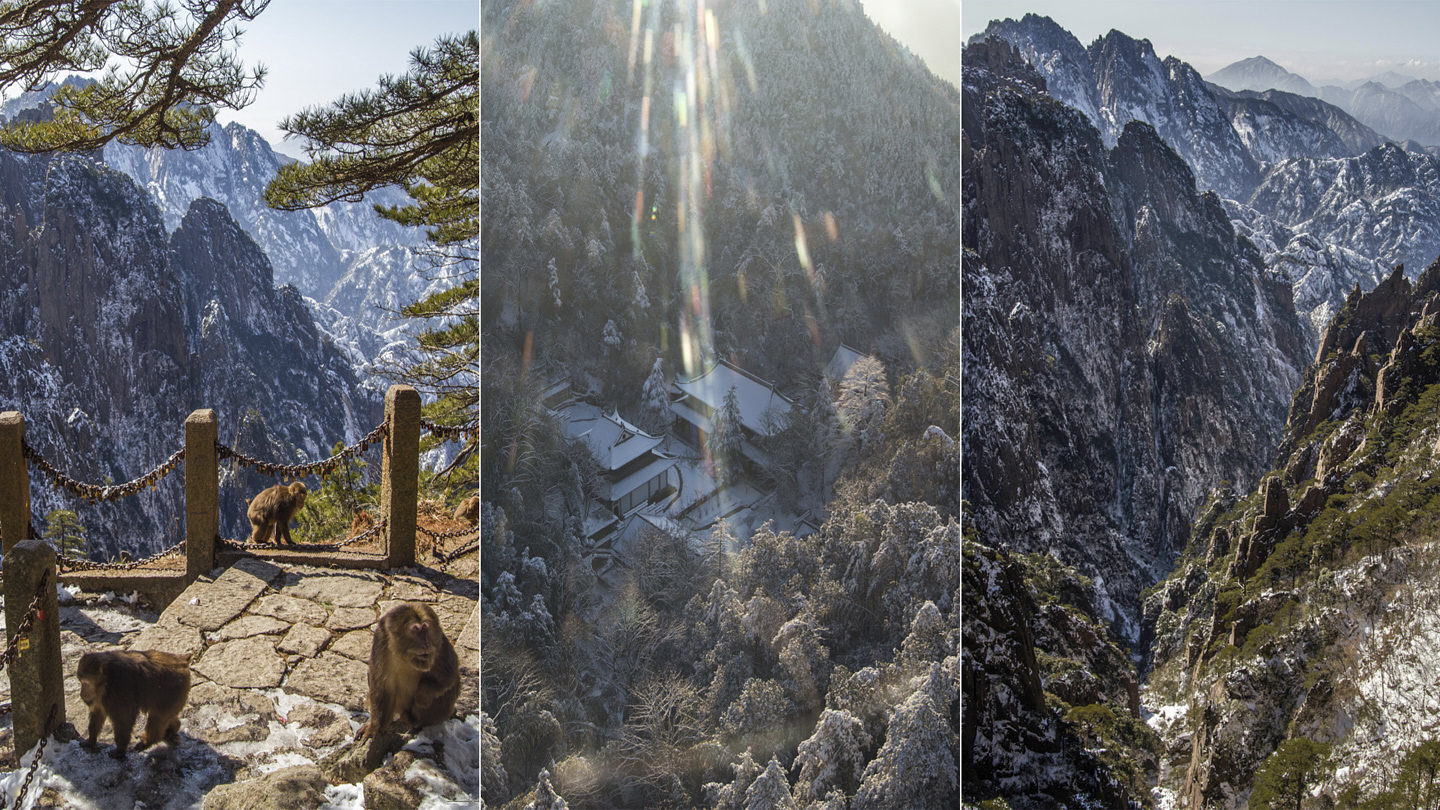 Three images: Monkeys on Huangshan, a temple bequeathed in light, a jagged valleyscape