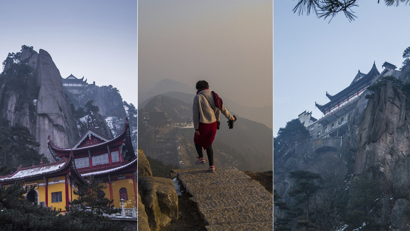 A row of three images: Jiuhua's temples and Ming descending the peak