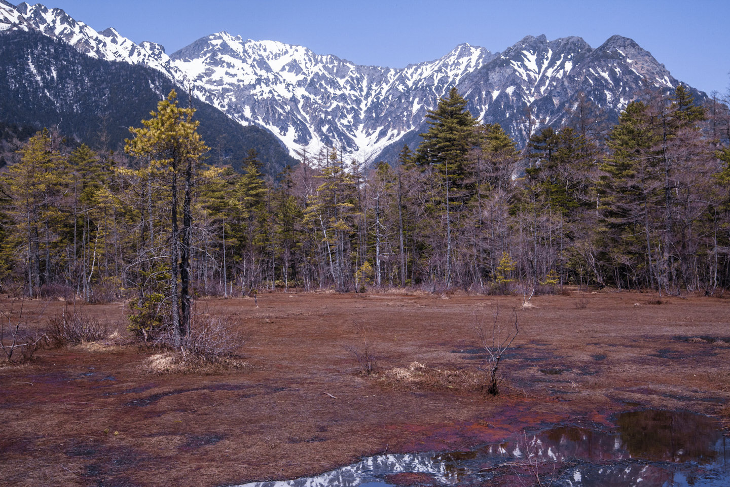 A dry patch of river in front of the towering snow-capped Japan Alps, Kamikochi
