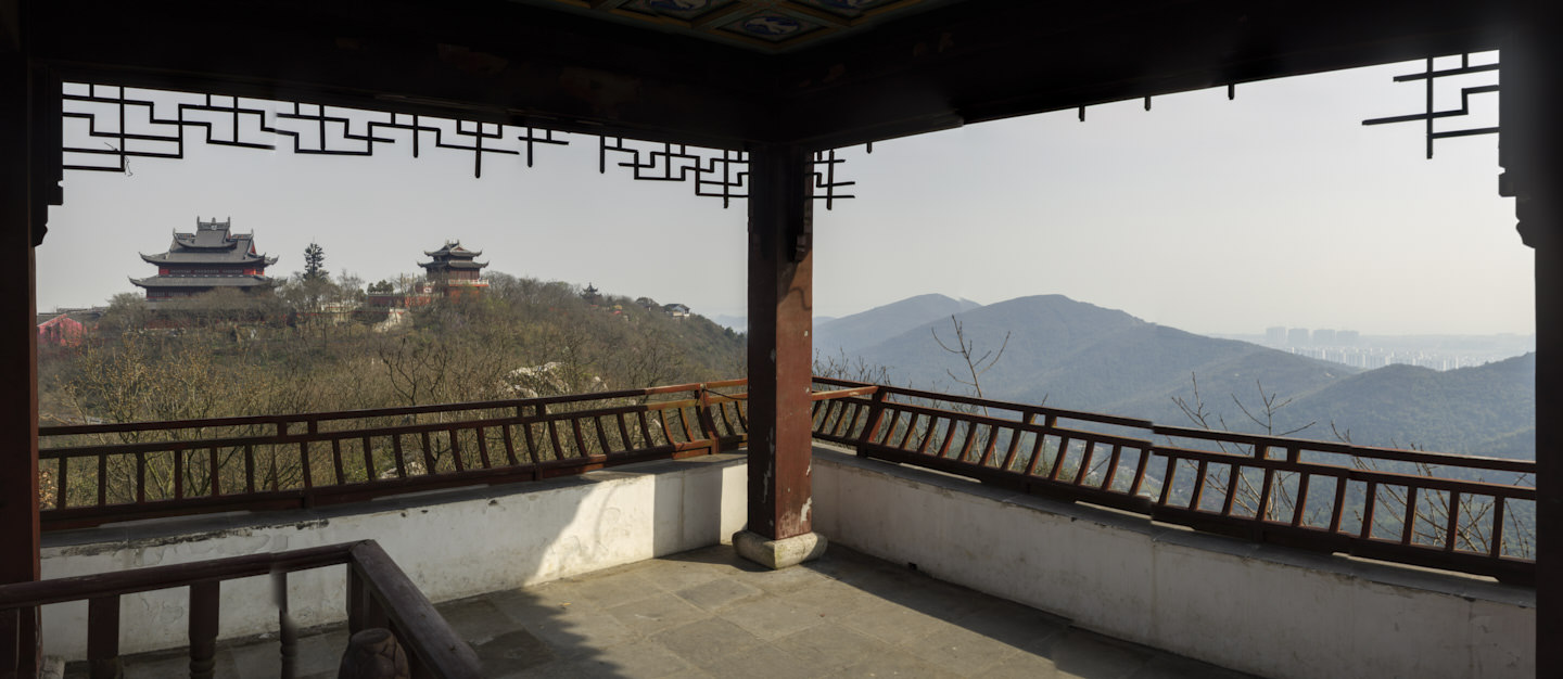 A view from the furthest viewpoint looking back towards Sanqing Temple Complex and mountains