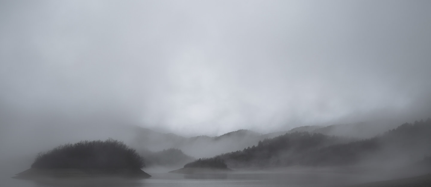 A foggy, brooding Tianchi Lake