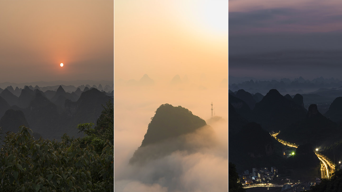 Three pictures: The sun sets over a carpet of humped mountains. A mountain drifts on a bed of cloud. Lights rush past far below as night falls on Yangshuo.