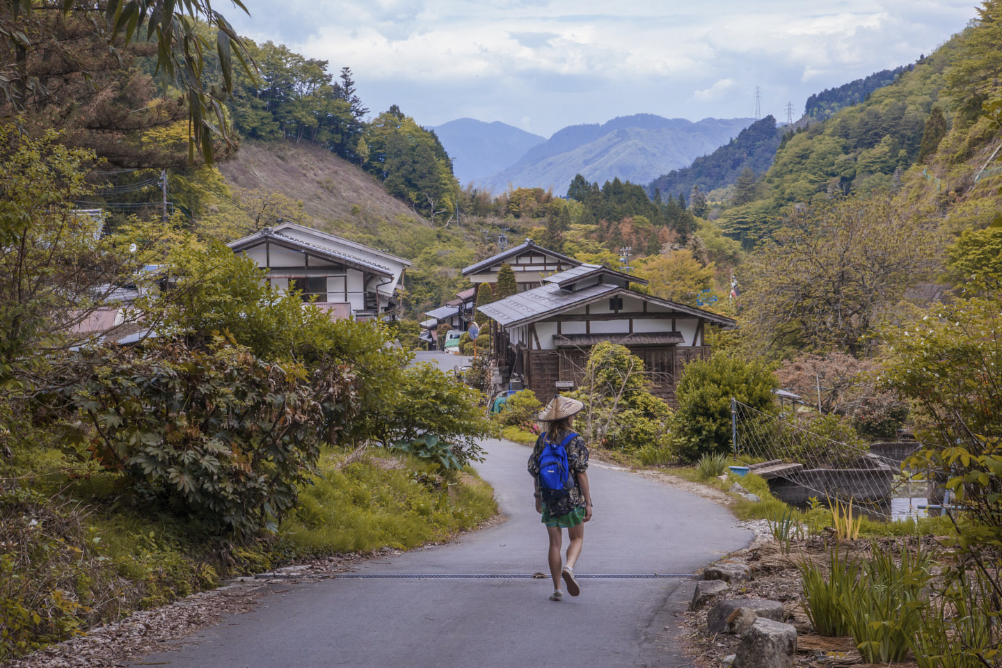 Hollie walks a particularly picturesque section of the Kiso Valley, backdropped by mountains