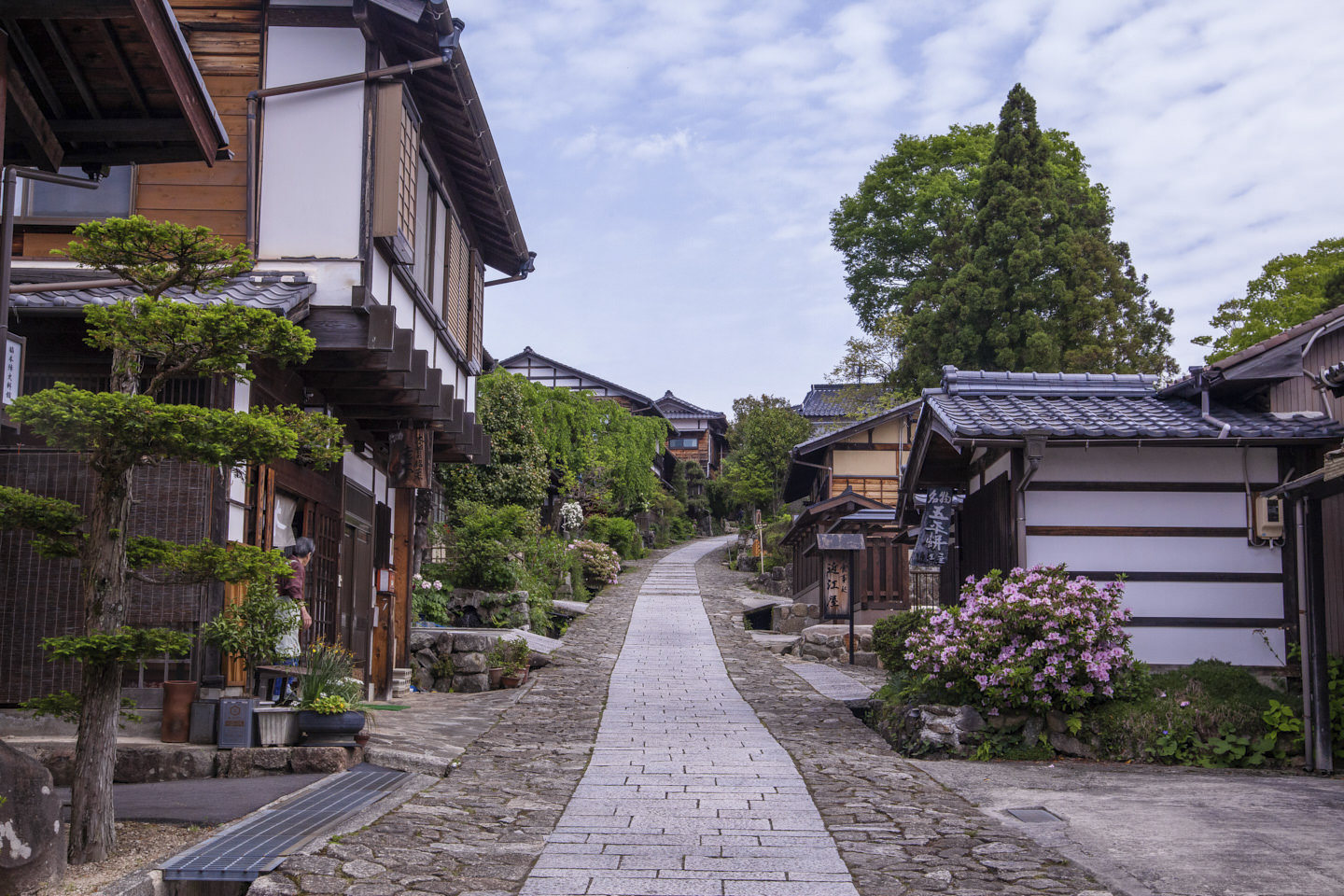 Pink bushes, slanted roofs and japanese trees line the streets of Magome